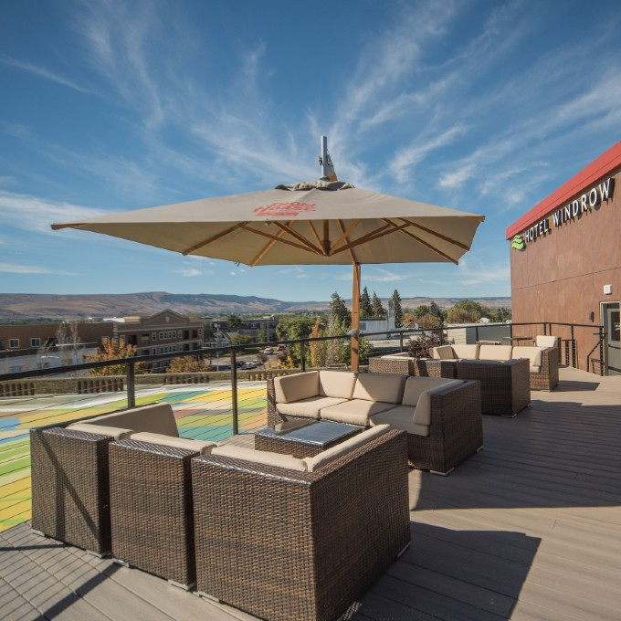 Rooftop lounge furniture at Top of the Burg